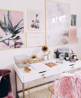 Abbinamento home design rosa e oro