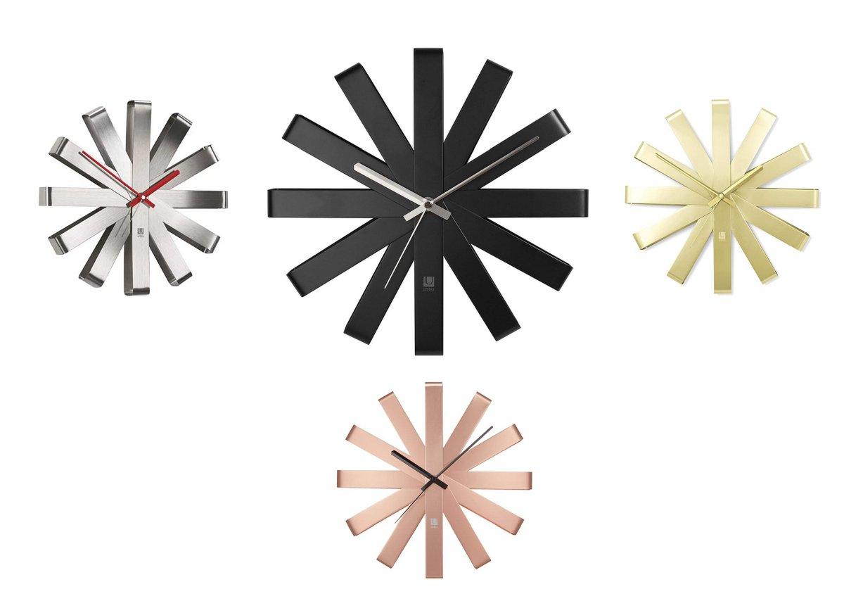orologio-moderno-design-muro-stella-nero-bianco-rosa-oro-gold