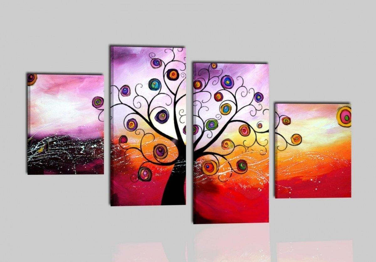 capezzale-quadro-etnico-alberi-colorato-rosso-viola-giallo