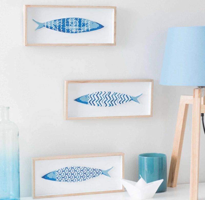 quadri-legno-pesci-blu-bianco
