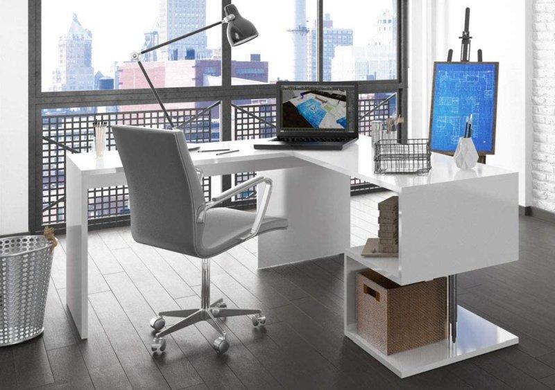 scrivania-di-design-bianco-lucido-angolare
