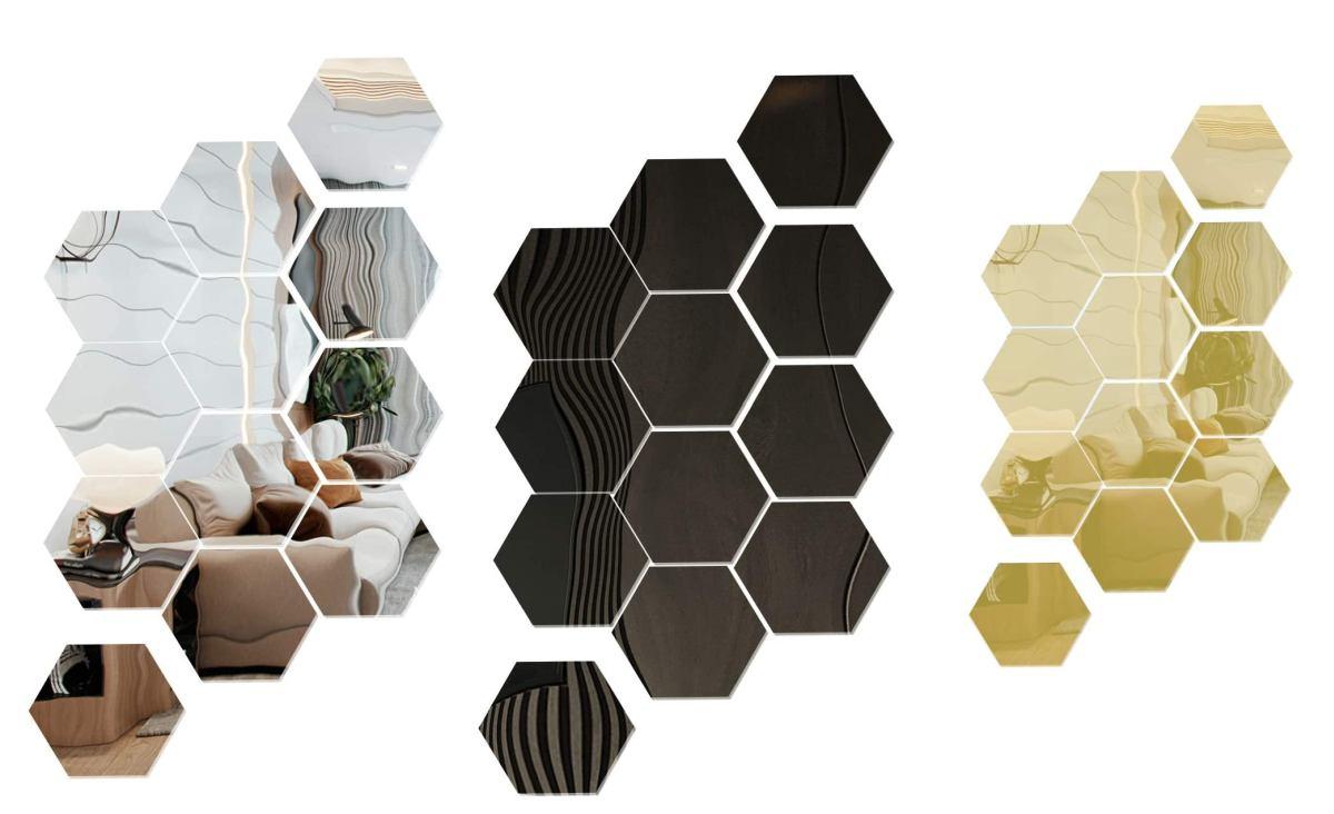 set-specchi-a-forma-esagonale-colore-argento-oro-nero