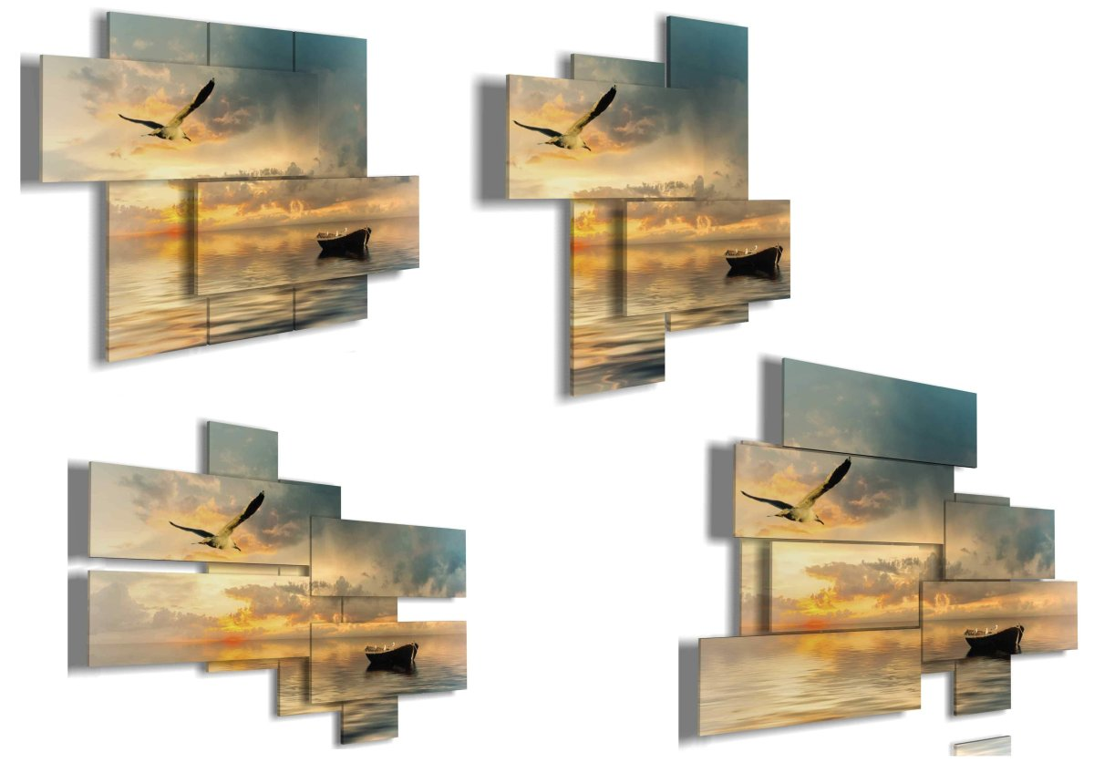 quadro-moderno-3D-duudaart-mare-paesaggio-multilivello