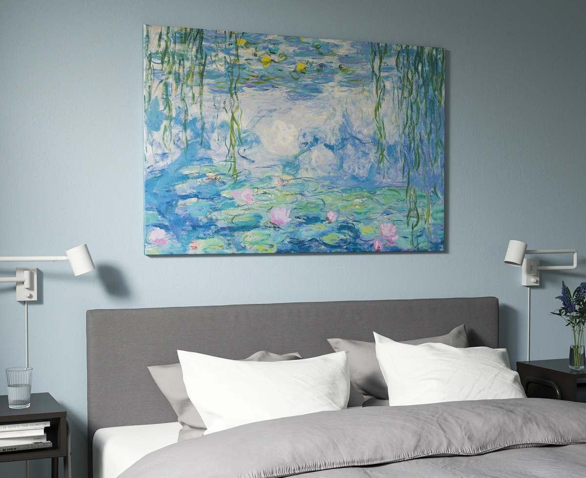 quadro-stampa-su-tela-ikea-laghetto-ninfee-pesci-astratto-camera-da-letto-spruzzata-colori