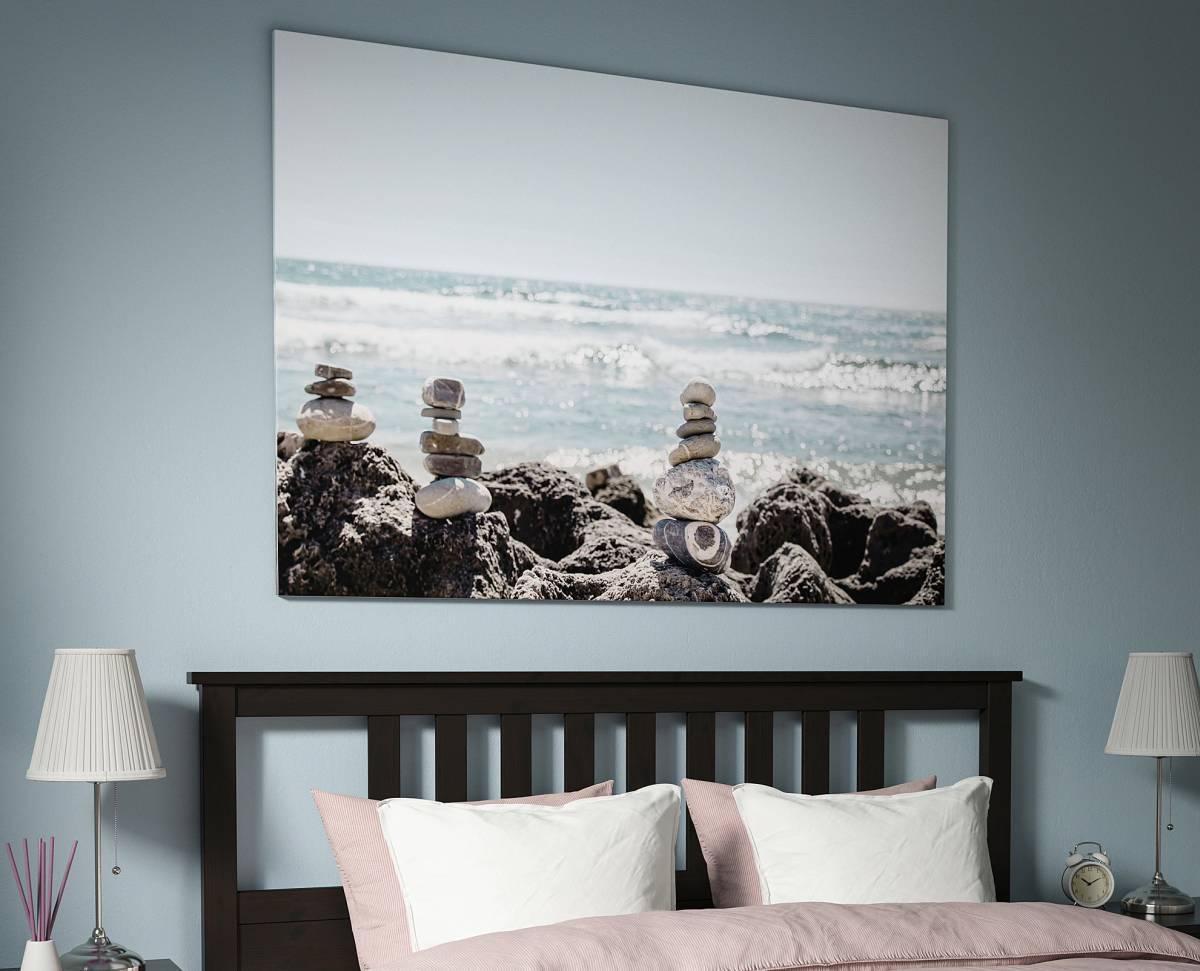 quadro-stampa-su-tela-ikea-mare-scoglio-sassolini-foto-reale