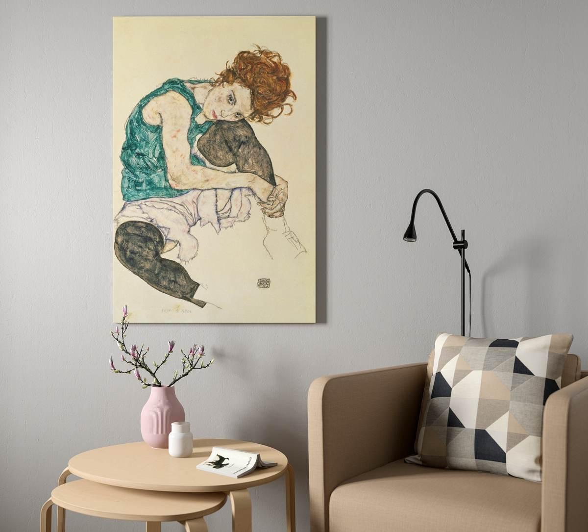quadro-stampa-su-tela-ikea-noir-ragazza-seduta-acquerelli-colori-tenui