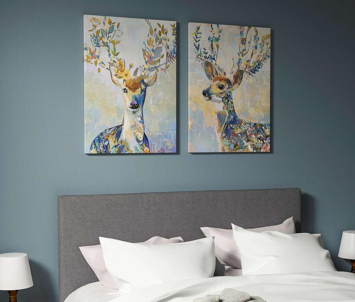 quadro-stampa-su-tela-ikea-renna-animali-colorata-schizzo