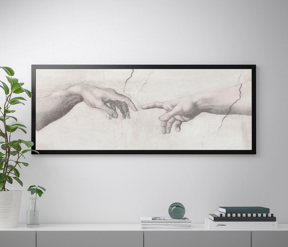 quadro-stampa-su-tela-ikea-tocco-dio-uomo-bianco-e-nero-buonarroti