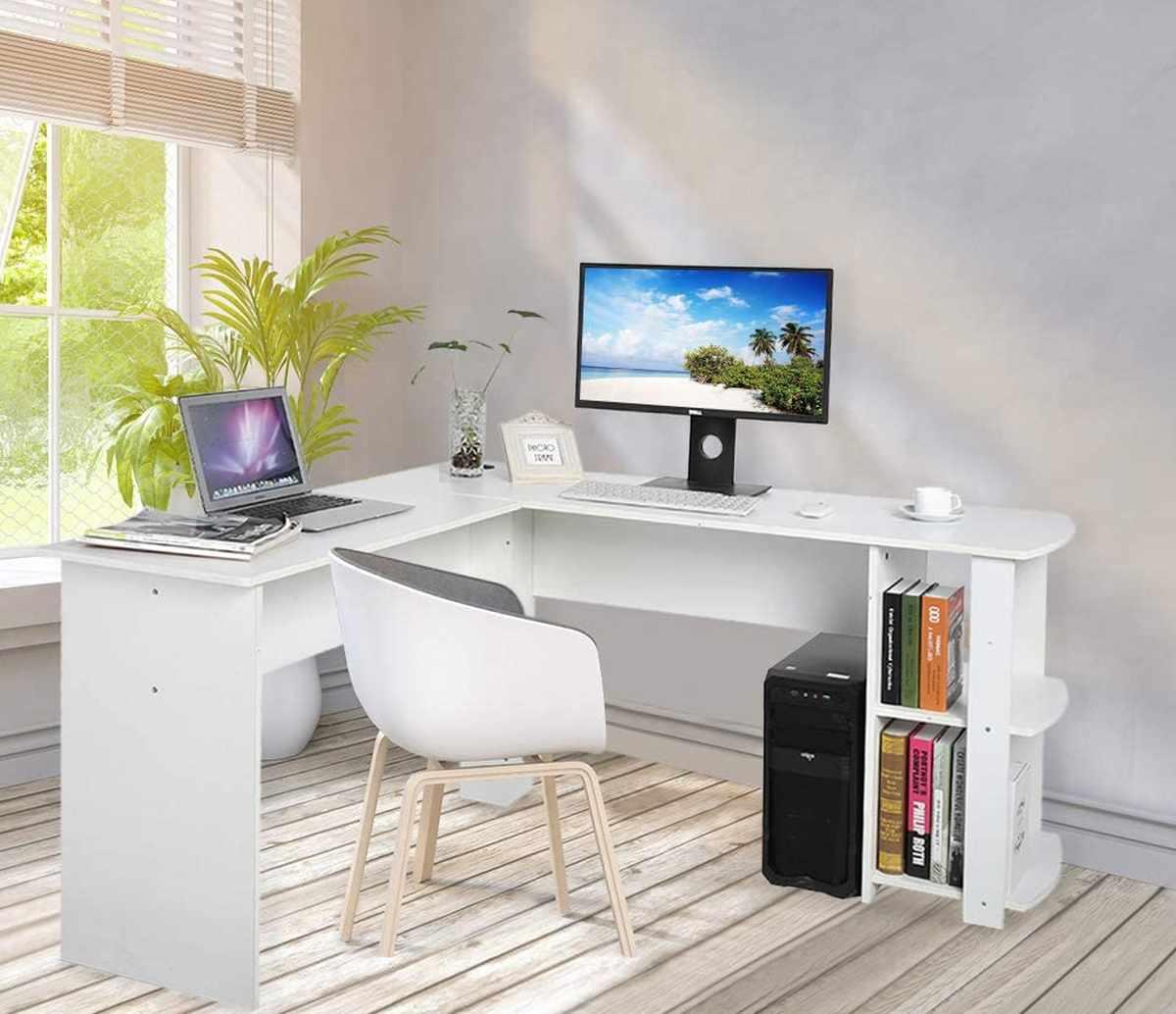 scrivania-angolare-pc-computer-ufficio-amazon-low-cost-economica-stile-moderno-bianca