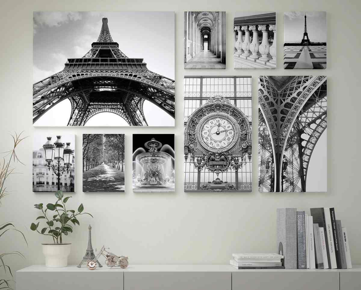 set-quadro-stampa-su-tela-ikea-parigi-bianco-e-nero-tour-eiffel