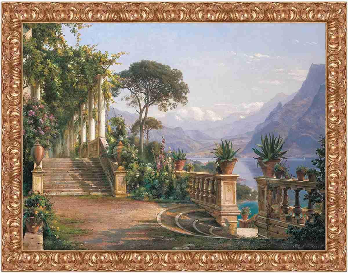 stampa-su-tela-quadro-famoso-classico-antico-carl-frederic-agaard-lodge-on-lake-como-con-cornice-in-legno-colore-oro